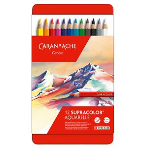 Caran D'Ache Supracolor Artiste Qualité Couleur Crayon 12 Set Doux Eau Soluble