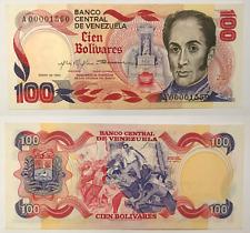 100 Bolivares 1980 UNC P.059 serial bajo