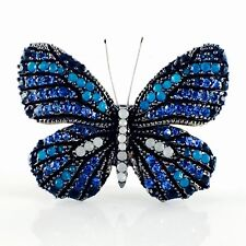 USA BUTTERFLY BROOCH PIN Using Swarovski Crystal Gemstone Elegant BLUE B01