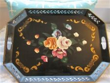 Large Chic Antique Hand Painted Shabby Roses Tole Buffet Catering Serving Tray