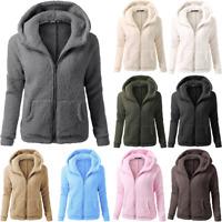 Women's Winter Hooded Sweater Coat Wool Cotton Zipper Solid Coat Casual Outwears