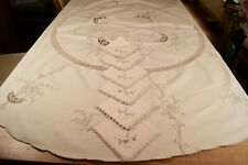 VINTAGE CREAM COTTON TABLECLOTH + 6 NAPKINS Madeira Embroidery Crochet Lace #T4