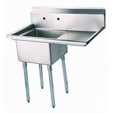 """Turbo Air Tsa-1-12-R1 Right Side Drain Board 39"""" Wide One Compartment Sink with"""