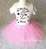 Pink Black Princess crown dots 2nd Second Girl Birthday Shirt Tutu Outfit Set