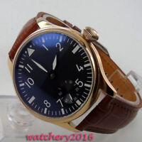 44mm Parnis Schwarz dial 17 jewels 6498 Handaufzug movement Uhr men's Watches