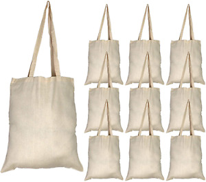 Tote Bag Reusable Cloth Shopping Storage Craft Beach Work Bulk Large 10ct