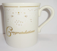 Lenox China Tea Cup Coffee Mug Congratulations Ivory White w/ Gold Accents