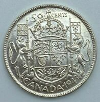1943 Canadian 50 Cent Half Dollar .800 Silver Lustre Remains    MP183