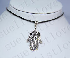 Hamsa Symbol Hand Charm Pendant Choker Necklace with Black Genuine Leather Cord