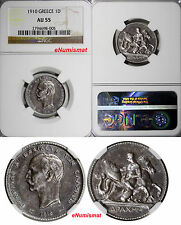 Greece George I Silver 1910 1 Drachma Ngc Au55 Nice Toned 2 Years Struck Km# 60
