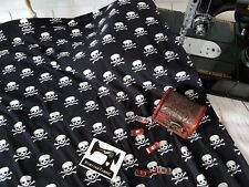 50cm Skulls Crossbones double brushed poly lycra 96/4 fabric 4 way stretch knit