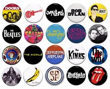 20x 60's Sixties Bands Artists Various 25mm / 1 Inch D Pin Button Badges