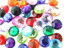 60 Assorted Faceted Beads Acrylic Rhinestone Gems 12 mm Round Flat Back Sew On