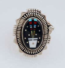 Navajo Handmade Sterling Silver with Multi-Stone Inlay Ring Size 8 by Ray Jack