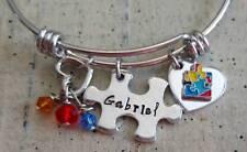 Personalized Autism Awareness name puzzle piece custom Charm Bangle Bracelet
