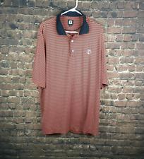 FJ Golf Apparel Men's Leslie 2 Color Stripe Orange/Blue Polo Shirt Size XL (H8B)