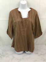 Venezia 3/4 Sleeve Blouse Womens 14/16 Boho Hippie Embellished Brown Shirt Top L