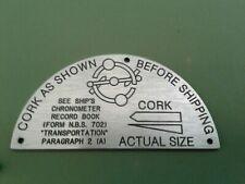 Ships Chronometer, Corking instruction plaque for Hamilton 21 chronometer