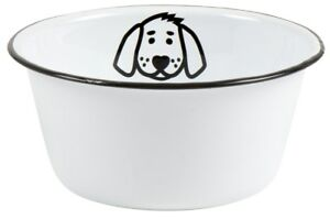 Ib Laursen Hundenapf Fressnapf  Emaille Weiß Napf Wassernapf groß Wassernapf
