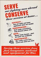 Original WWII Poster Propaganda WW2 Serve Our Fighting Men Abroad