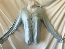 7TH AVENUE (LARGE)(NEW) Blue L/S B/D Sweater Embroidered/Rhinestone Flower