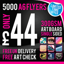 5000 A6 Leaflets / Flyers - 300gsm Coated Art Board - Single Sided - Full Colour