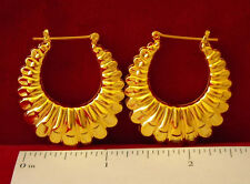 "MADE IN USA - Gold Plated Design ~1-1/4"" Hoop Earrings  (#1219)"