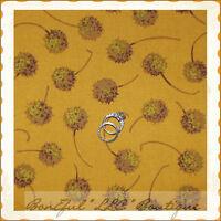 BonEful Fabric FQ Cotton Quilt VTG Flower Mustard Seed Gold Yellow Fall Harvest