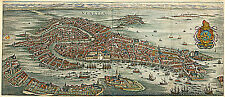 1636 Venice Italy Map Vintage Historic Wall Poster Home Office Venezia Venetia