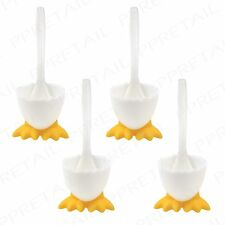 4 X Spoons Novelty Eggcups W Feet Boiled Egg Holder Breakfast Lunch