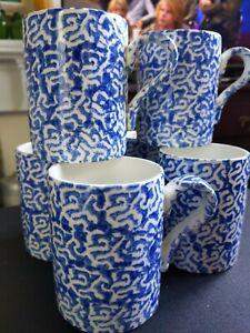 6 Kensington Price Blue White Mugs  Tea Coffee