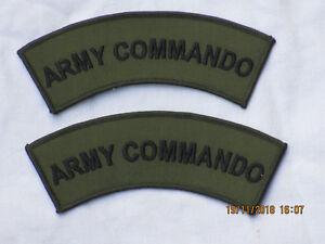 Schultertitel: Army Commando, Armee  Kommando Schriftzug,schwarz/oliv