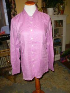 J. Crew Plum Colored Linen Perfect Blouse Shirt 10