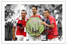 Alexis Sanchez Mikel Arteta Santi Cazorla Arsenal foto firmada impresión Soccer