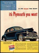 1947 PLYMOUTH Blue 2-Door Special Deluxe Hardtop Automobile Car  VINTAGE AD