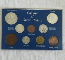 More details for 1945 george vi 9 coin year type set with silver - cased