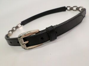Fossil Leather Belt Small 28 Chain Skinny Black BT206500101