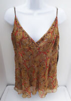 RALPH LAUREN BROWN MULTI BEADED CASUAL SILK SLEEVELESS TANK TOP BLOUSE L NEW