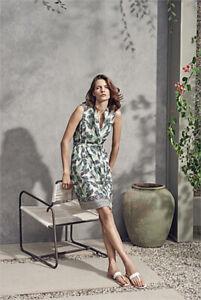 TRENERY fern printed linen cotton dress 10 pockets, sash belt