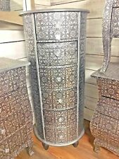 STUNNING SILVER CHIC FRENCH METAL FURNITURE EMBOSSED 6 DRAW TALL BOY 3079