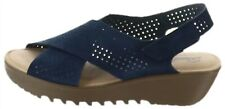 Skechers Perforated Suede Slingback Demi-Wedges Navy 8M # A349850