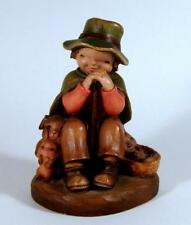 """Anri Carved Wood Figurine The Rest Boy Sitting with Rabbits & Puppy Dog 4 1/4"""""""