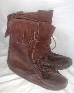 Amazing Hand Made Men's Leather Frontier Moccasin Boots with Fringe size 11