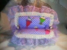 """Handpainted and decorated white & purple bench with cushion forfits 4-5"""" dolls."""