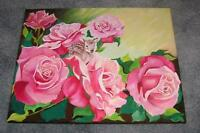 GORGEOUS PINK ROSES FLOWERS FAWN DEER DOE BOTANICAL NATURE GARDEN OIL PAINTING
