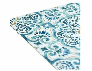 WallPops 60.96 x 152.4cm Vinyl Fontaine Peel & Stick Floor Tiles Blue 10 Pieces