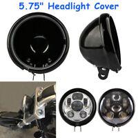 """5 3/4"""" Led Headlight for Harley Davidson 5.75'' Housing Shell Bracket Cover"""