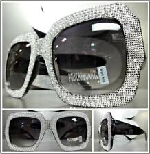 OVERSIZED EXAGGERATED VINTAGE RETRO Style SUN GLASSES Large Bling Black Frame