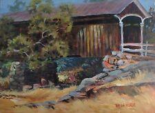 Knights Ferry Bridge, E Of Oakdale CA, Plein Air Acrylic Painting Pamela Wilhelm