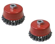 """2 x 4"""" TWIST KNOT WIRE WHEEL CUP BRUSH SET 100mm for 115mm 4-1/2"""" Angle Grinder"""
